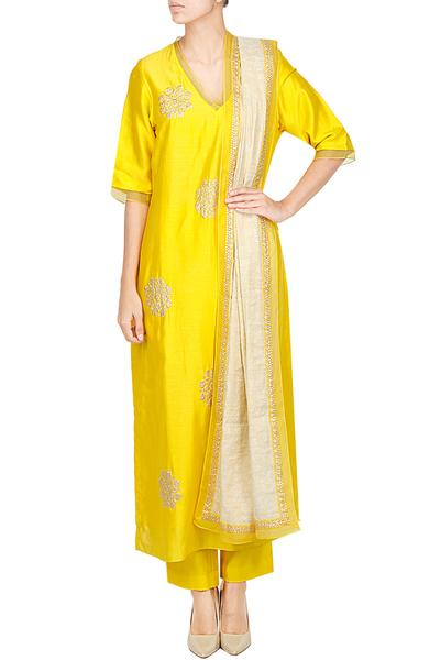 Suits, Clothing, Carma, Yellow zari embroidered floral kurta set ,  ,
