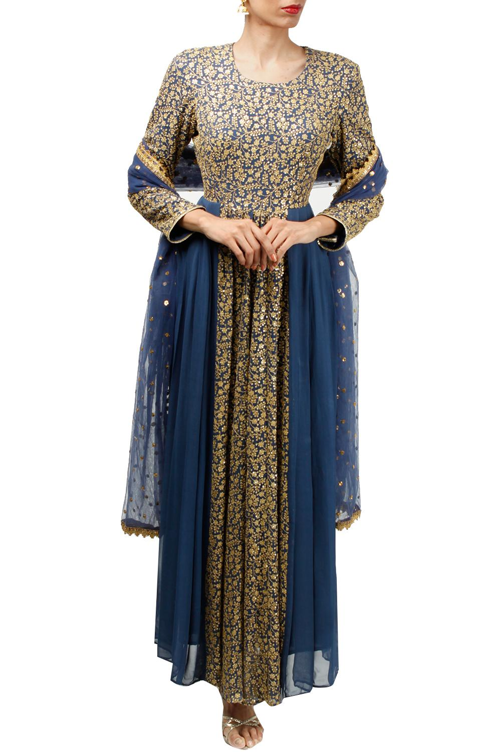 d73d175a22 Blue hand embroidered cut out anarkali with dupatta by Abhi Singh ...
