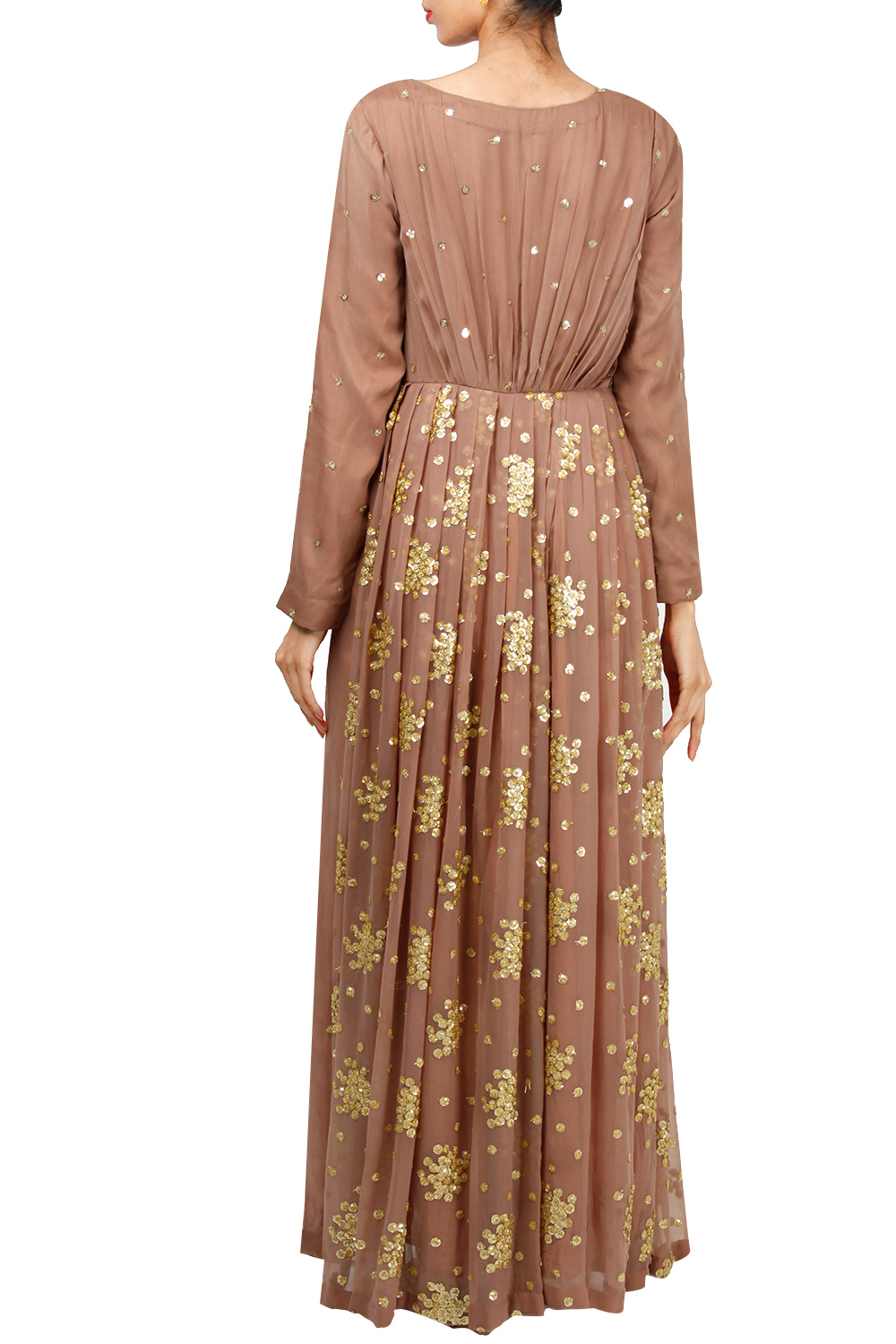 d60b769a07 Pastel brown hand embroidered kurta with dupatta by Abhi Singh ...