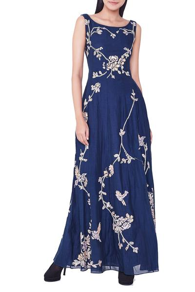 Dresses, Clothing, Carma, Blue hand embroidered maxi dress ,  ,  ,