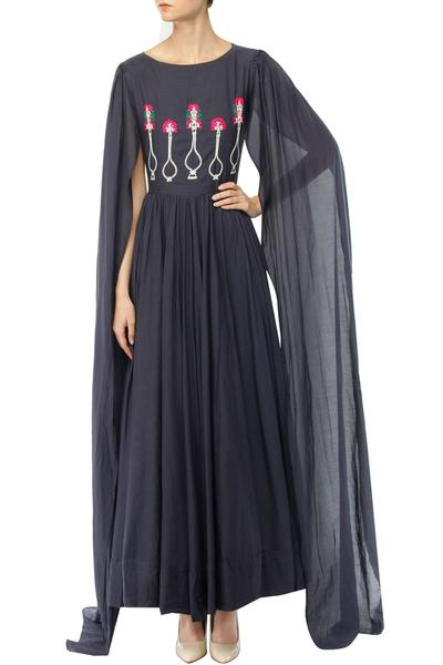 Suits, Clothing, Carma, Slate black embroidered flowerpot motifs cape sleeved anarkali dress ,