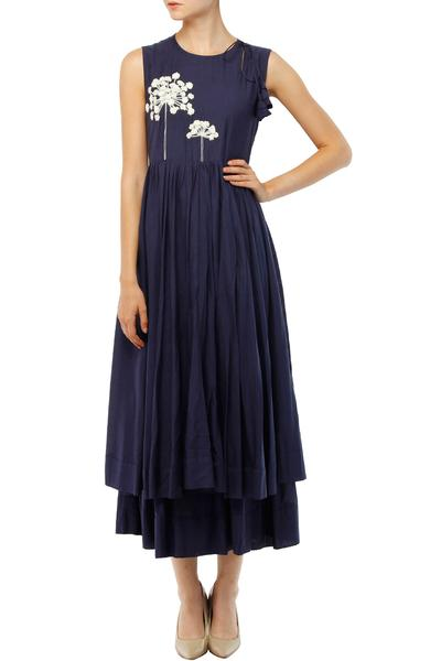 Dresses, Clothing, Carma, Midnight blue tree motifs embroidered layered midi dress ,  ,