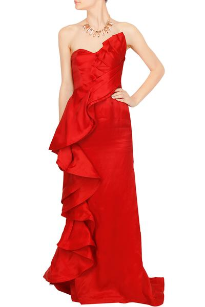Gowns, Clothing, Carma, Red strapless ruffled capola gown ,
