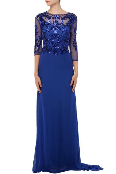 Gowns, Clothing, Carma, Electric blue sequined bodice gown with train ,