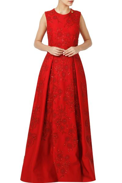 Gowns, Clothing, Carma, Crimson Red Embroidered Gown ,  ,  ,