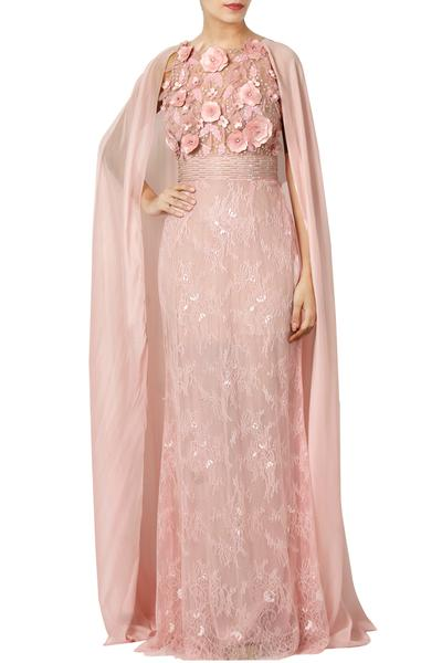 Gowns, Clothing, Carma, Blush Pink Floral Applique Cape Gown ,  ,  ,