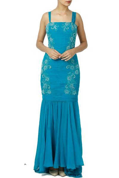 Gowns, Clothing, Carma, Turquoise Floral Embellished Gown ,  ,  ,