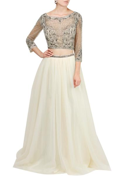 Gowns, Clothing, Carma, Ivory skirt and embellished top ,  ,