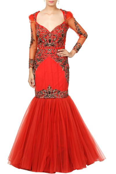 Gowns, Clothing, Carma, Red Hand Embroidered Gown ,  ,  ,