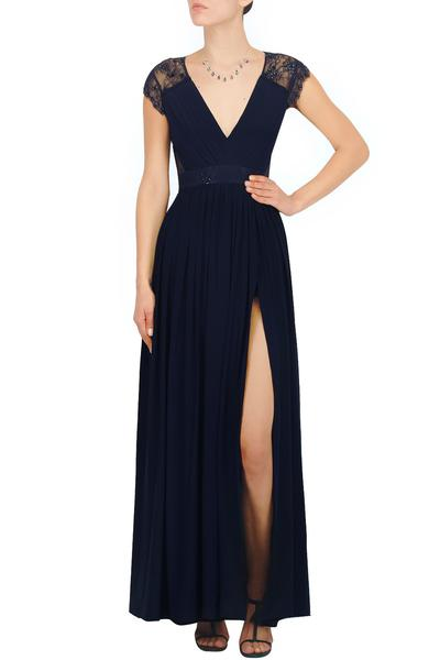 Gowns, Clothing, Carma, Midnight blue front slit chantilly lace gown ,