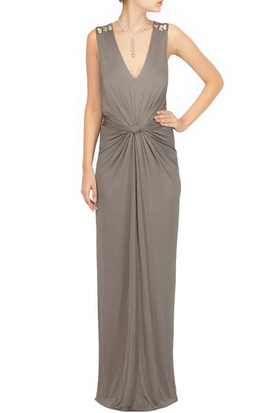 Gowns, Clothing, Carma, Grey liquid jersey maxi ,