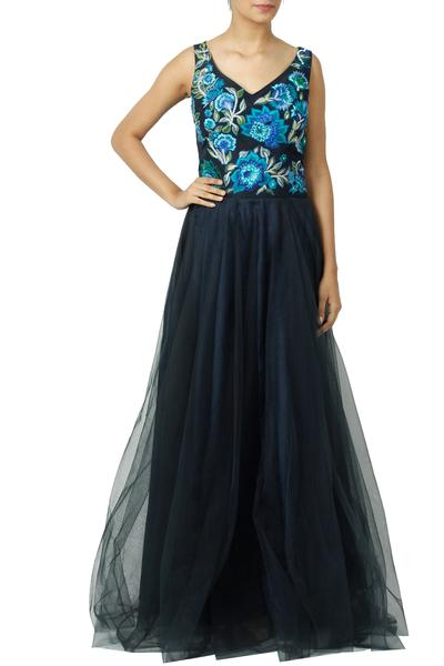Gowns, Clothing, Carma, Navy Floral Embroidered Gown ,  ,  ,