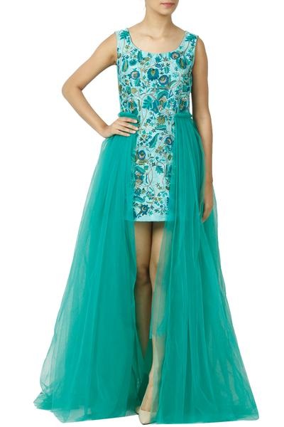Gowns, Clothing, Carma, Turquoise Net Flare Gown ,  ,  ,
