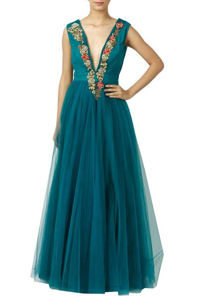 Gowns, Clothing, Carma, Teal Deep Neck Gown ,  ,  ,