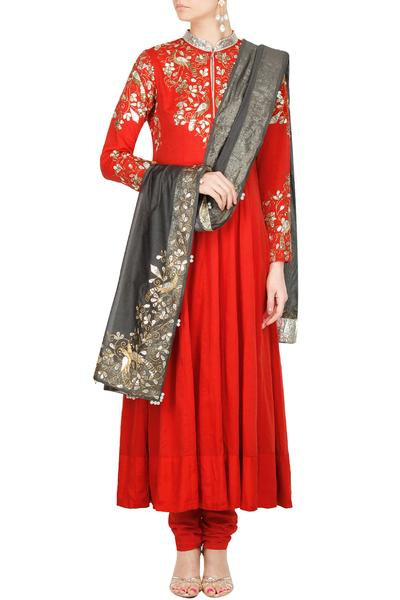 Suits, Clothing, Carma, Red peacock gota patti embroidered bandhgala anarkali set ,