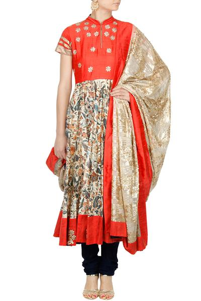 Suits, Clothing, Carma, Coral and beige gota work floral printed anarkali set ,