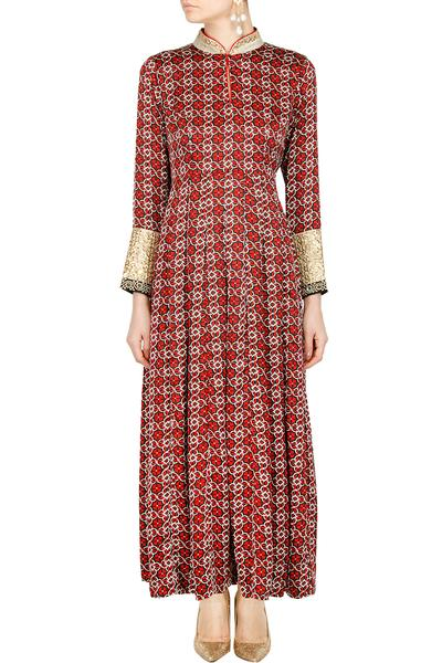 Suits, Clothing, Carma, Red and black printed sequin work kurta dress ,