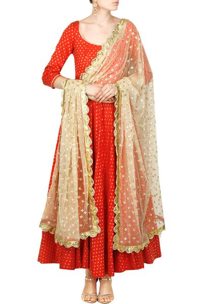 Suits, Clothing, Carma, Candy red floral anarkali with fully embroidered dupatta set ,  ,