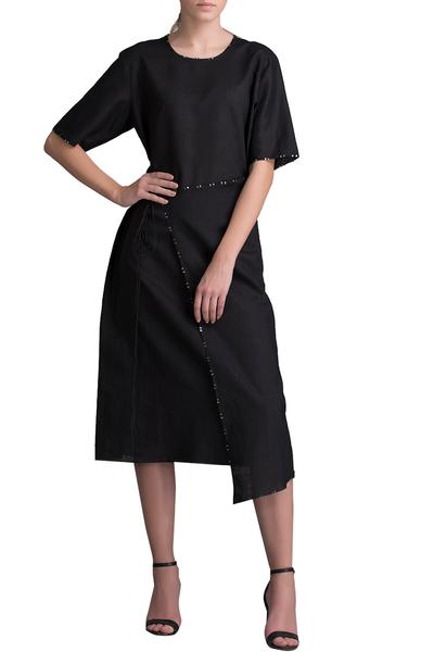 Dresses, Clothing, Carma, Black Asymmetric Wrap Dress ,  ,  ,