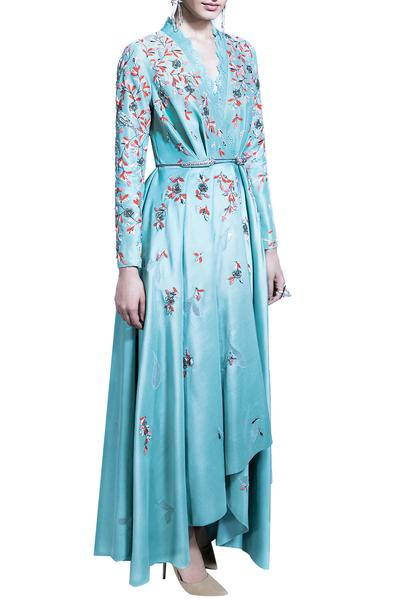 Dresses, Clothing, Carma, Sea Green Embroidered Asymmetric Wrap Dress ,  ,