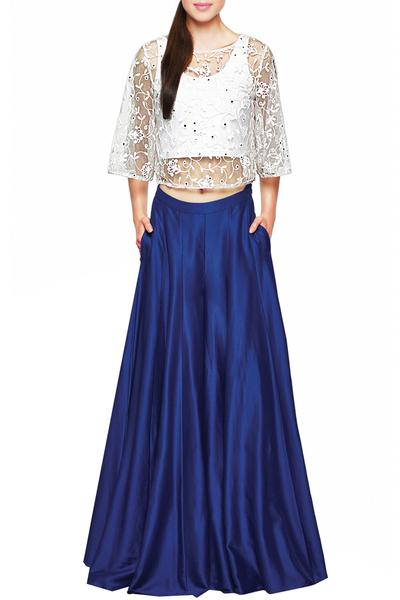 Suits, Clothing, Carma, Sheer net floral embroidered top with royal blue sharara ,  ,