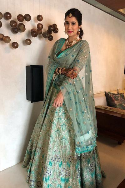 Lehengas, Clothing, Carma, Sage green embroidered lehenga set ,  ,