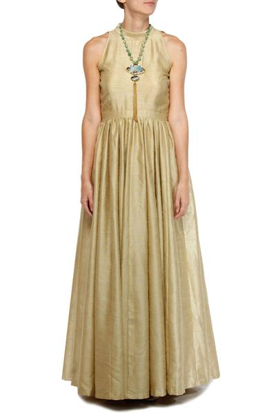 Gowns, Clothing, Carma, Golden halter neck backless gown ,