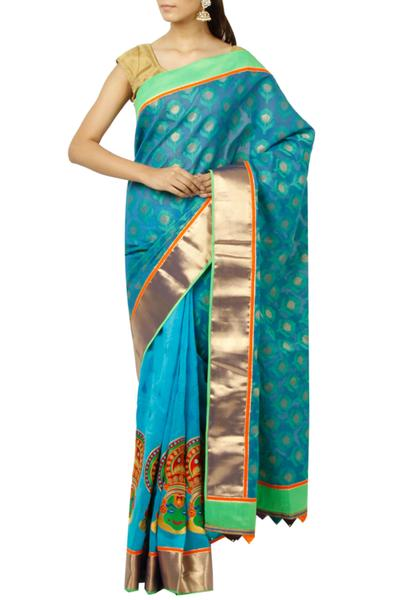 Sarees, Sarees, Clothing, Carma, Blue Kathakali Embroidered Saree ,  ,  ,
