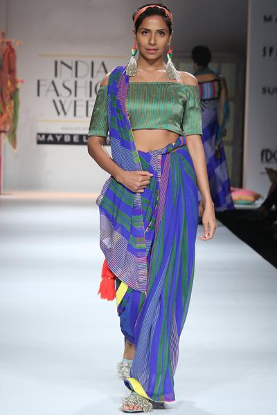 Sarees, Sarees, Clothing, Carma, Blue and green striped saree ,  ,