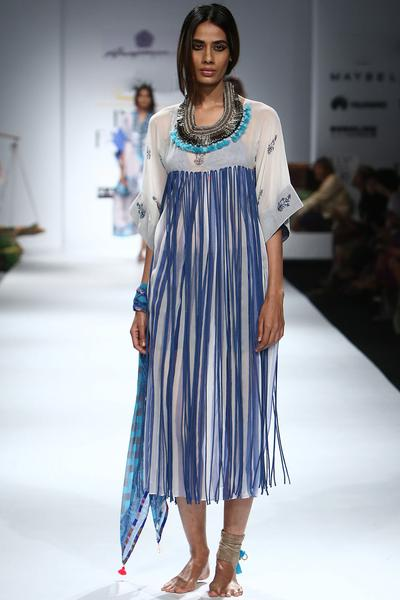 Dresses, Clothing, Carma, White and blue tassel detailed dress ,  ,