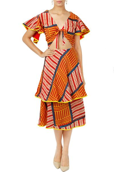 Dresses, Clothing, Carma, Multicolor printed cut out dress ,  ,