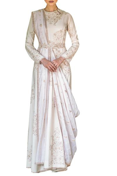 Gowns, Clothing, Carma, Ivory embroidered gown with dupatta ,  ,  ,