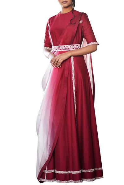 Gowns, Clothing, Carma, Maroon and pink gown with drape ,  ,  ,