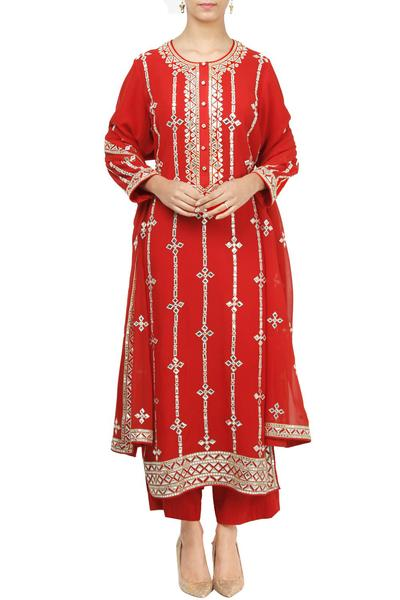 Suits, Clothing, Carma, Red mirror work kurta set ,  ,  ,