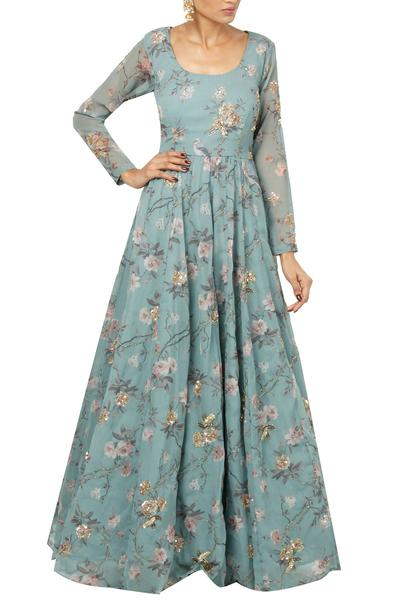 Gowns, Clothing, Carma, Blue Floral Print Gown ,  ,  ,