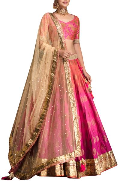 Lehengas, Clothing, Carma, Fuchsia Shaded Lehenga Set ,  ,  ,