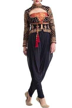 9cf9be718b Midnight Blue Embroidered Jacket With Dhoti Pants