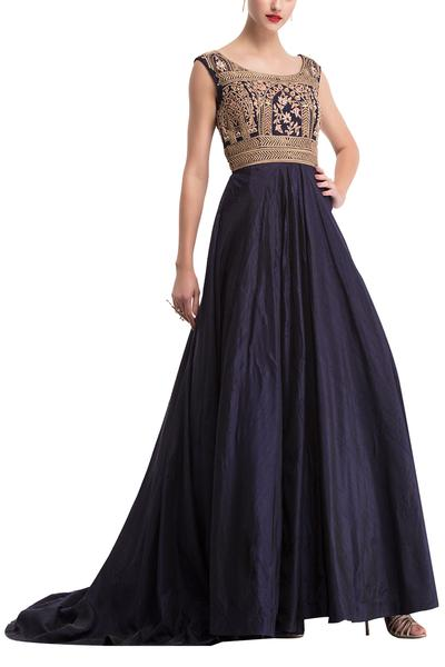 Gowns, Clothing, Carma, Midnight blue embroidered trail gown ,  ,  ,