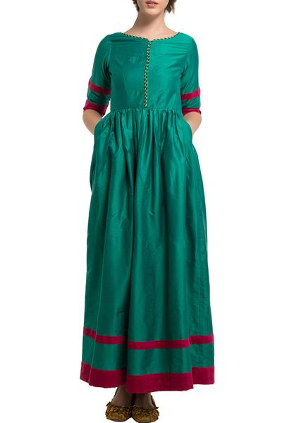Dresses, Clothing, Carma, Green pleated long dress ,  ,