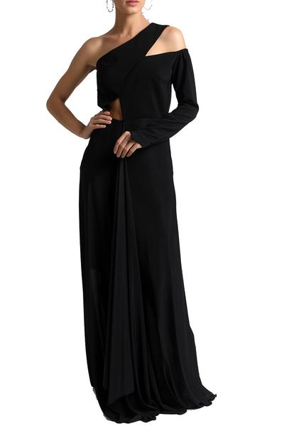 Dresses, Clothing, Carma, Black one shoulder cut out maxi dress ,  ,  ,