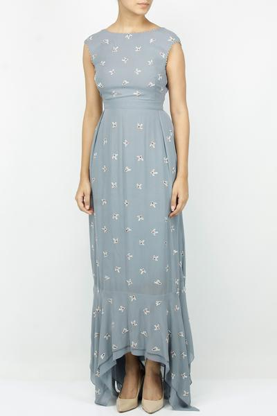Dresses, Clothing, Carma, Grey embroidered bird motifs dress ,  ,