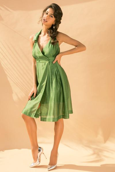 Dresses, Clothing, Carma, Green Collared Halter Neck Wrap Dress ,  ,