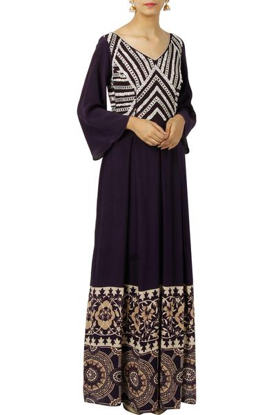 Dresses, Clothing, Carma, Mid night blue printed embellished maxi dress ,  ,