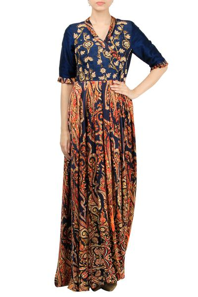 Dresses, Clothing, Carma, Navy blue printed maxi dress ,  ,  ,