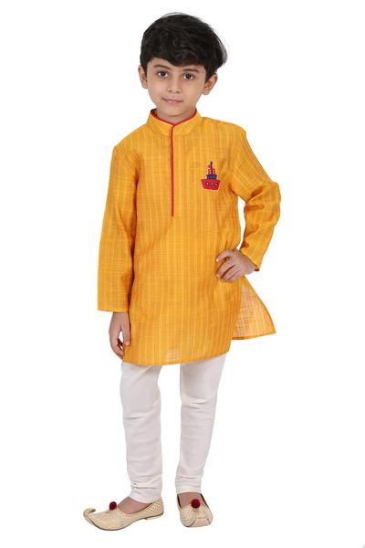 Boys, Kids, Carma, Yellow kurta with churidaar