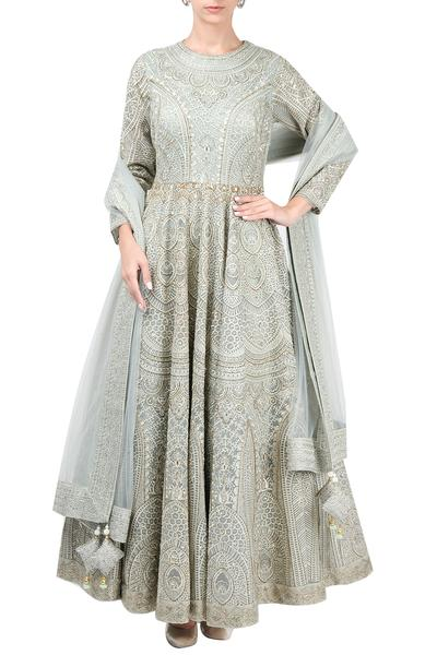 Suits, Clothing, Carma, Pale blue embroidered anarkali with dupatta ,  ,