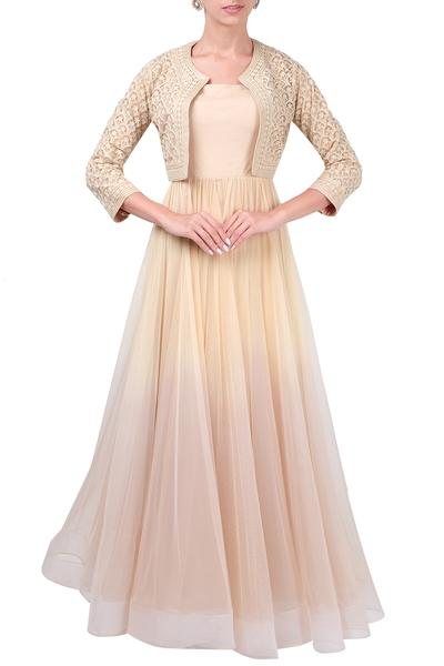 Gowns, Clothing, Carma, Beige gown with embroidered bolero ,  ,