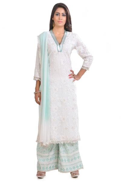 Suits, Clothing, Carma, White and Silver Embroidered Kurta with White and Aqua Embroidered Culottes ,