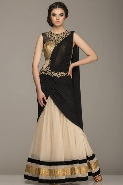 Dresses, Clothing, Carma, Beige and Black Draped Outfit ,  , Midnight Goddess , Evening,Festive , Wedding,Reception,Bridesmaids , Ethnic , Soft Net , India , Dryclean Only ,