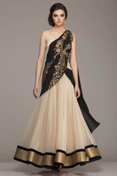 Dresses, Clothing, Carma, Beige and Black Draped Outfit ,  , Midnight Goddess , Evening,Festive , Weddings,Reception,Bridesmaids , Ethnic , Soft Net , India , Dryclean Only ,